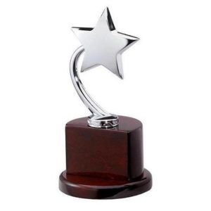 Metal star trophy in a high cheap fake rolex watches gloss wooden base