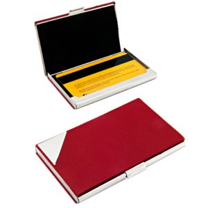 Business card case in red leather with silver edge