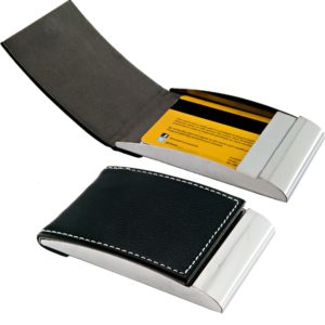 Vertical name card case leather + metal