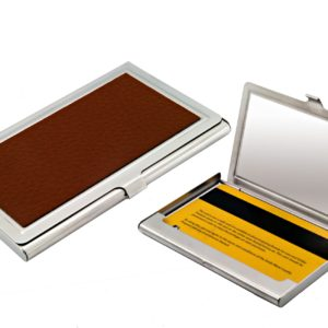Metal card case with brown leather finish
