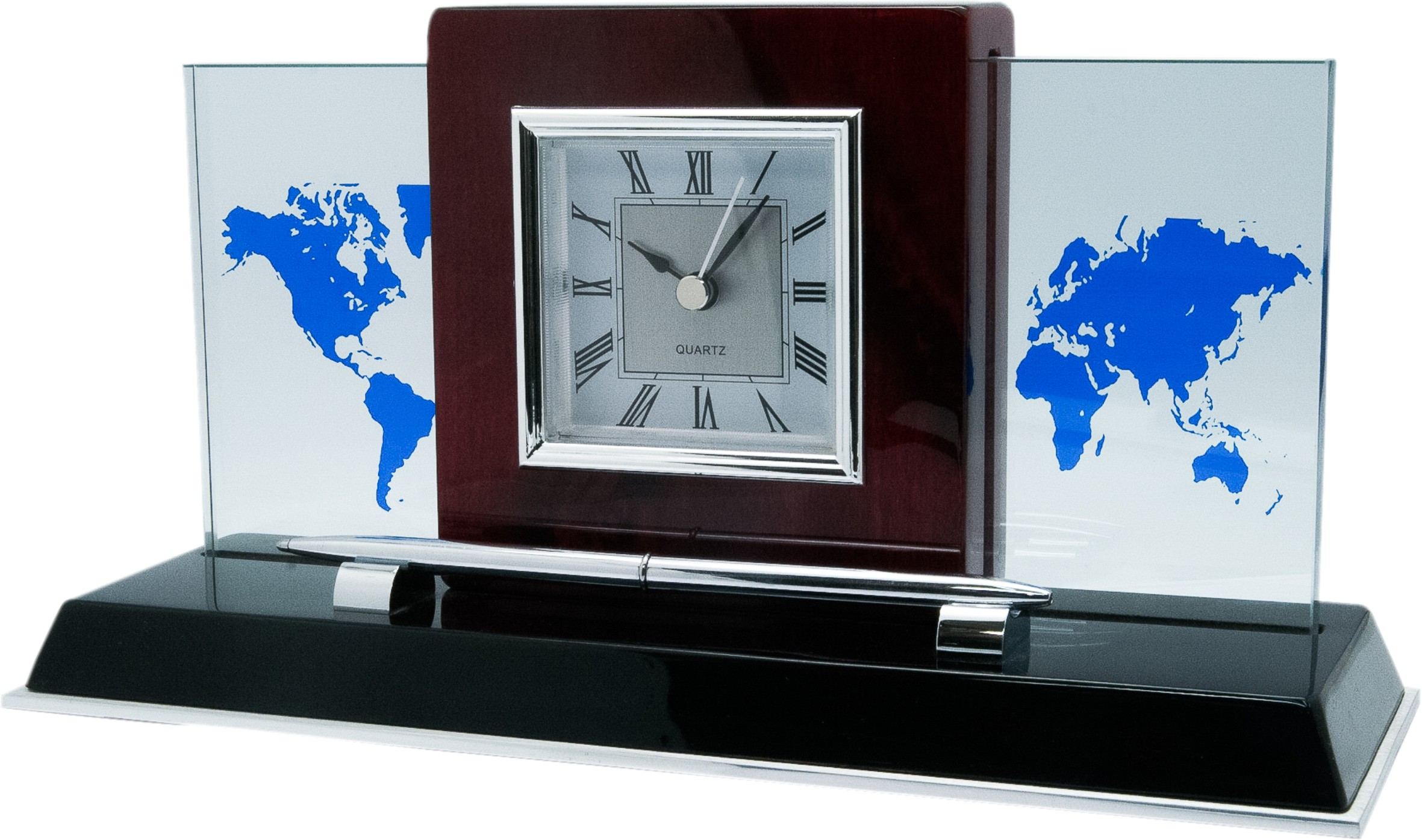 Desktop clock and pen with world map on glass belfast trading llc desktop clock and pen with world map on glass gumiabroncs Choice Image