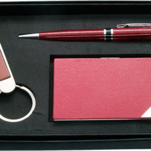 Burgundy combination of namecard case with pen with keychain