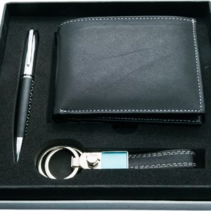 Leather wallet with pen & Keychain