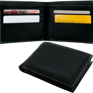 Leather wallet with 8 pockets